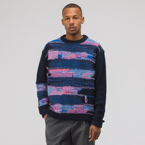 Acne Studios Knit Sweater in Navy/Purple - Notre