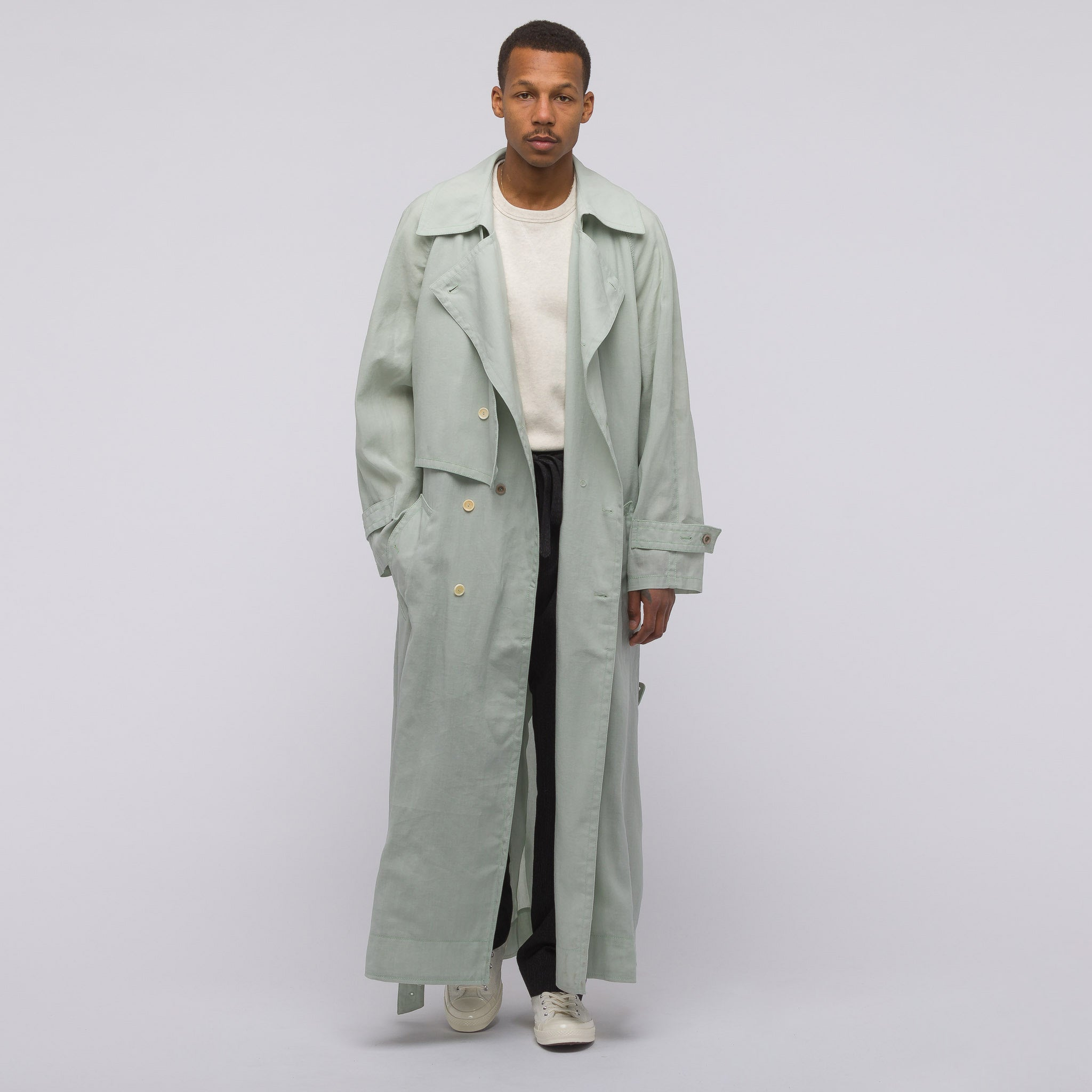Acne Studios Morres Wax Trench Coat in Mint Green