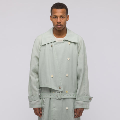 Acne Studios Morres Wax Trench Coat in Mint Green - Notre