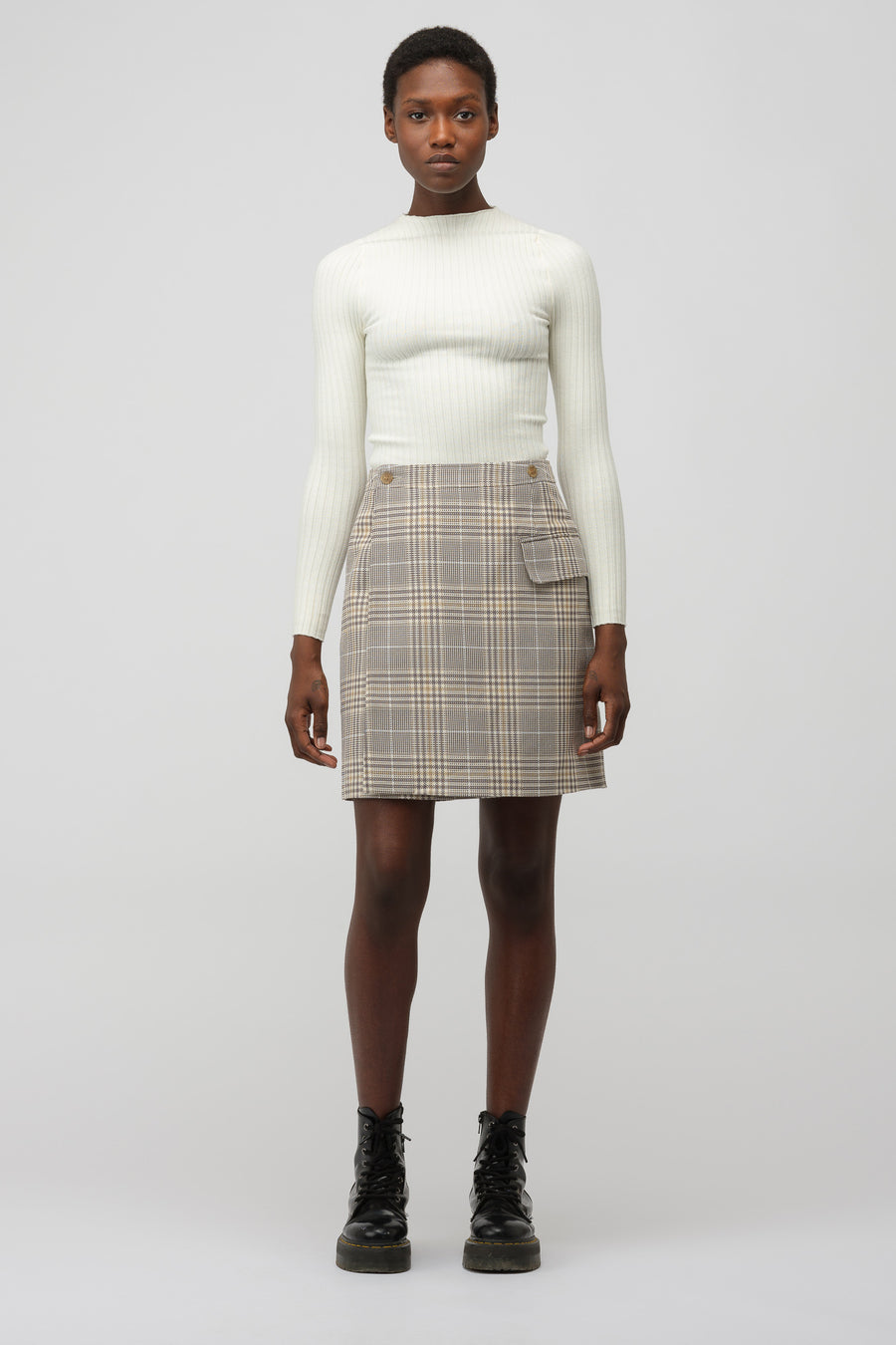 Acne Studios Plaid Mini Skirt in Grey/Beige - Notre