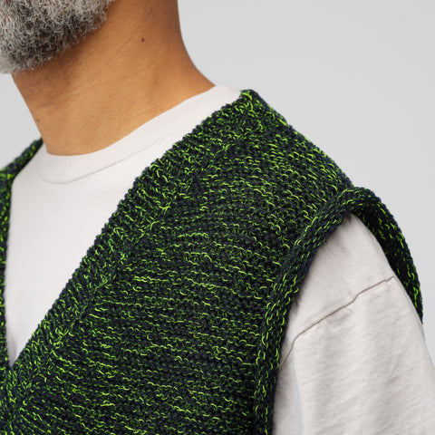 Acne Studios Keste Knit Vest in Navy/Neon Green - Notre