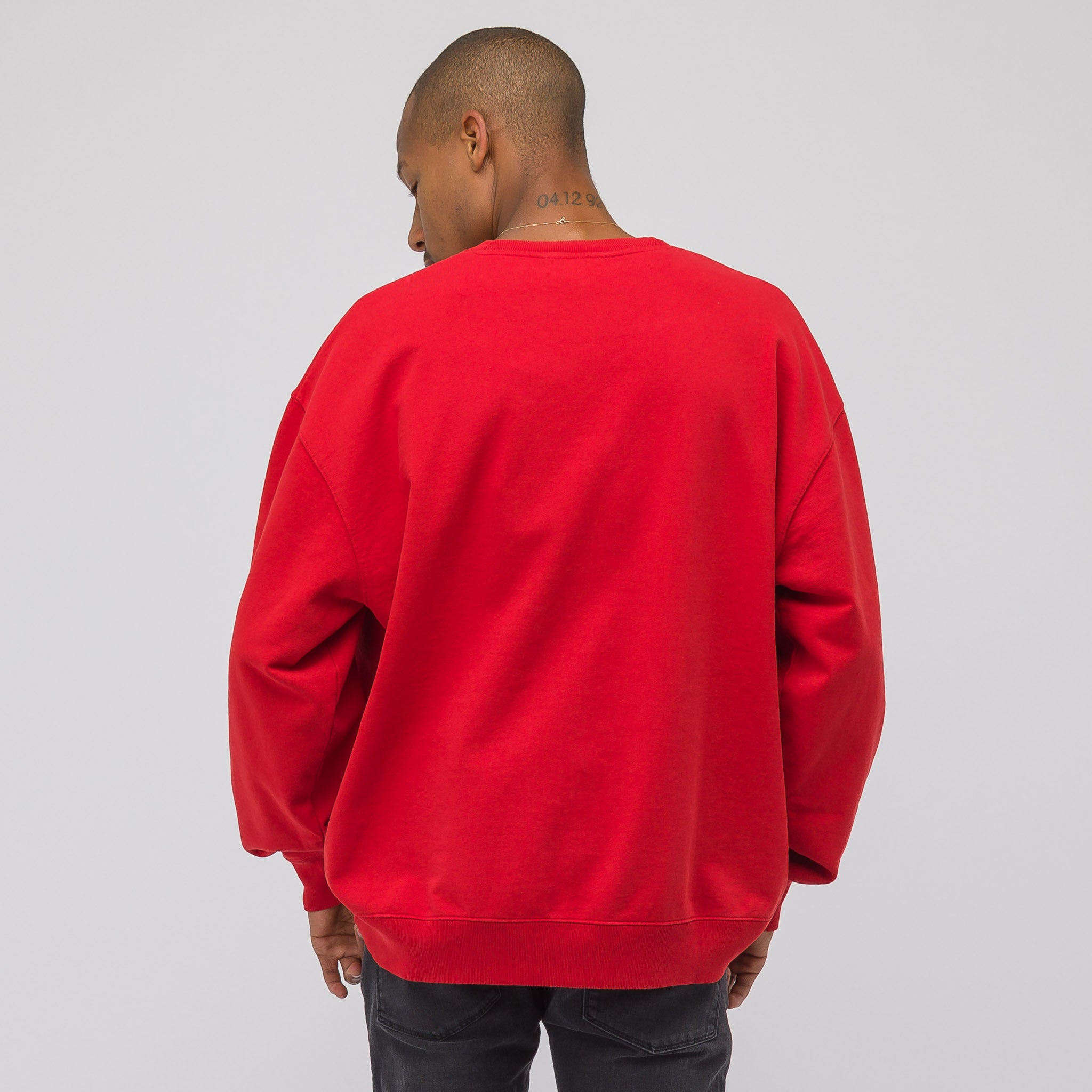 Garment Dyed Sweatshirt in Tomato Red