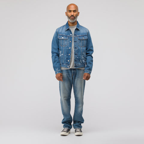 Acne Studios Tent Paint Vintage Denim Jacket in Mid Blue - Notre