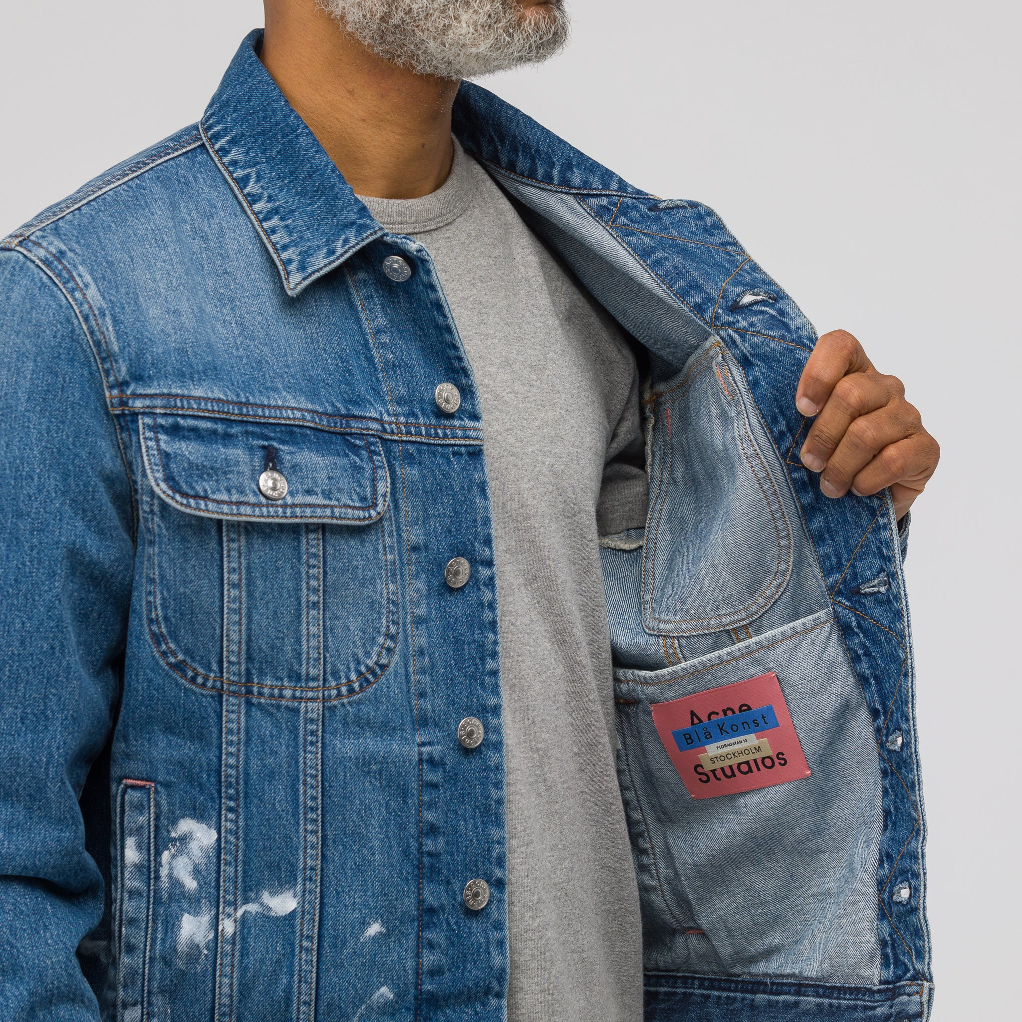Tent Paint Vintage Denim Jacket in Mid Blue