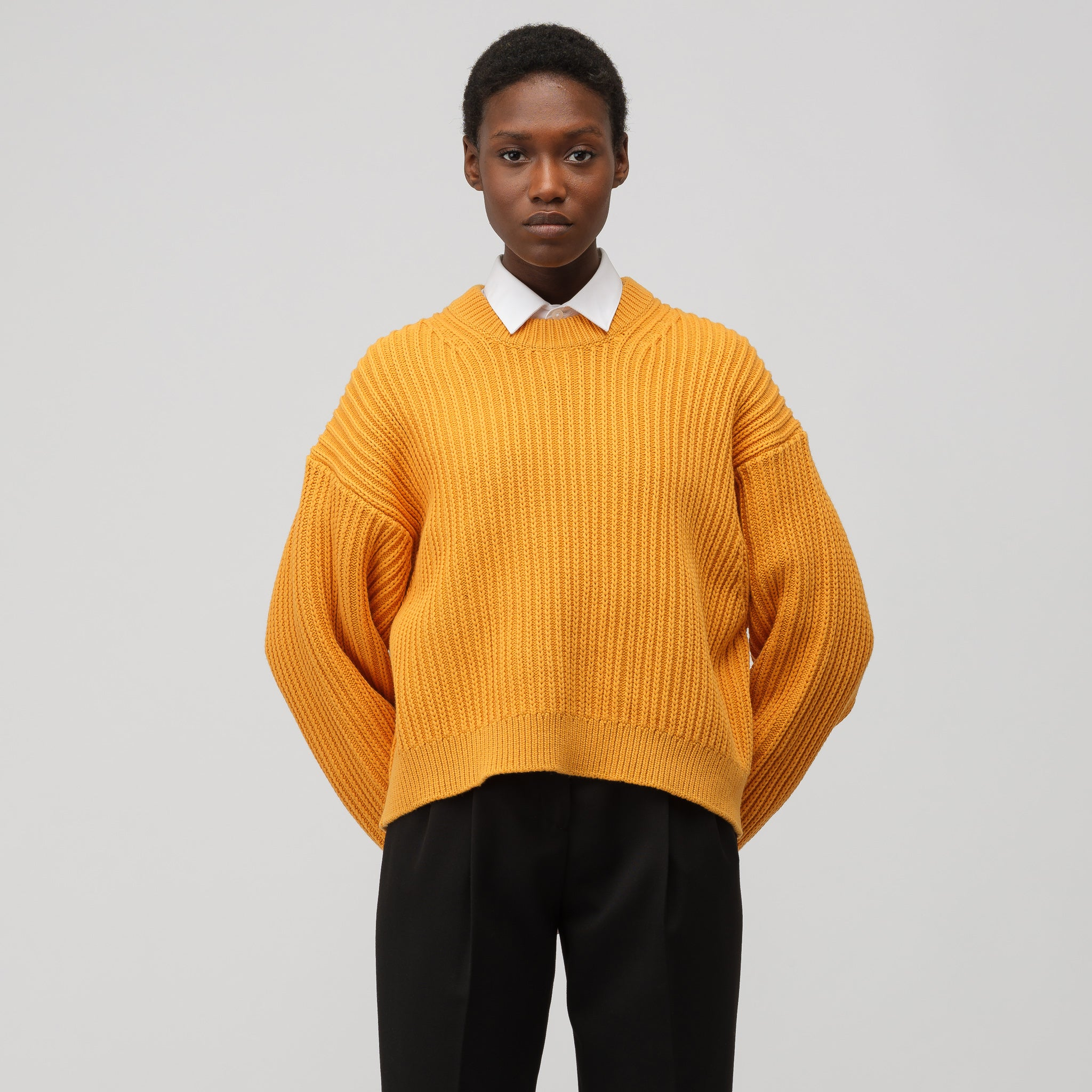 Women's Cropped Oversized Sweater in Mandarin Orange