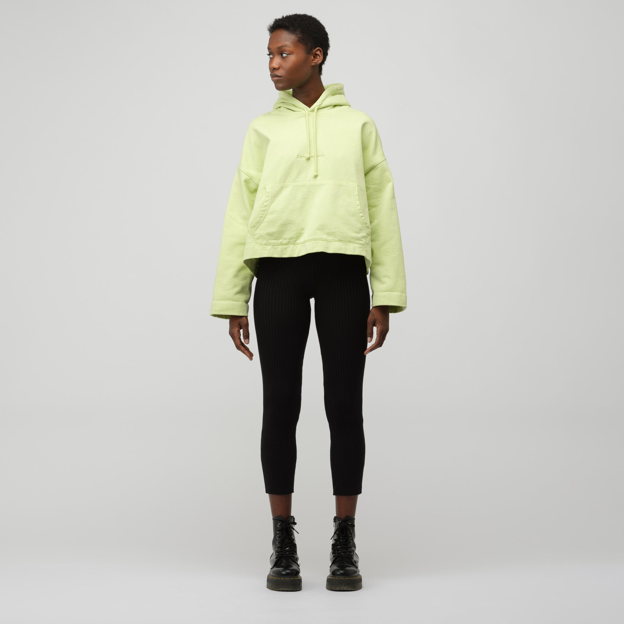 Women's Joghy Emboss Hooded Sweatshirt in Lime Green