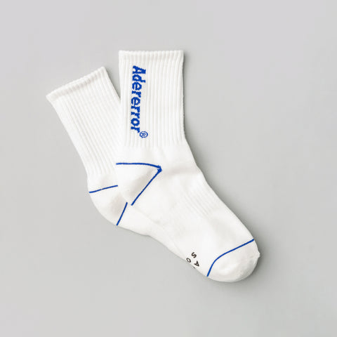 Adererror Diagonal Socks in White - Notre