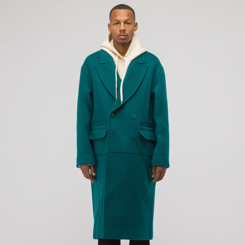 Adererror Drop Shoulder Double Coat in Green - Notre
