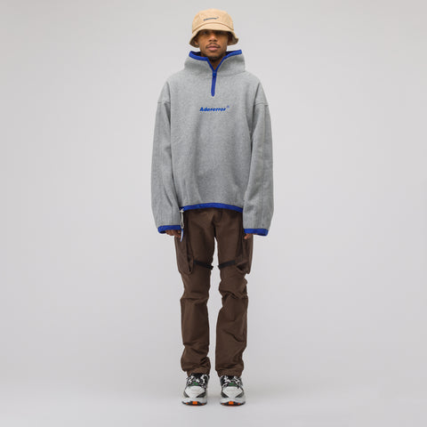 Adererror Label String Fleece Zip Up in Grey - Notre