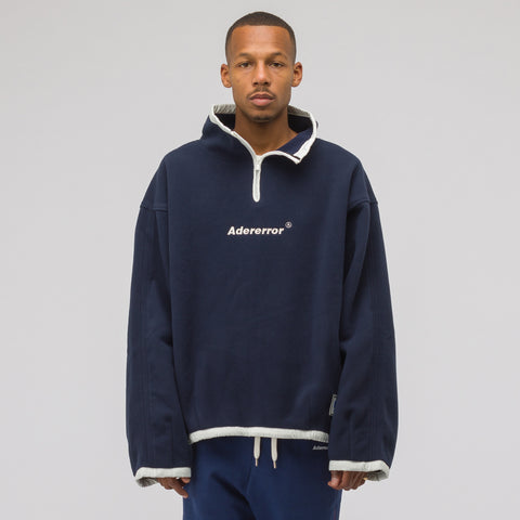 Adererror Label String Fleece Zip Up in Navy - Notre