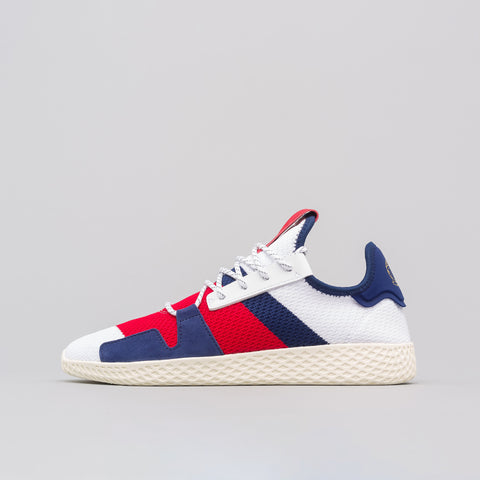 adidas x Pharrell Williams Hu V2 in White/Scarlet/Blue - Notre