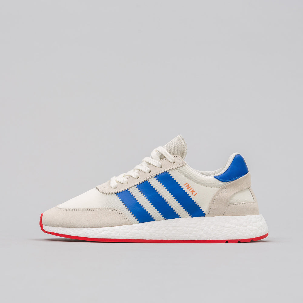 Adidas Iniki Runner in Off White/Blue/Red - Notre