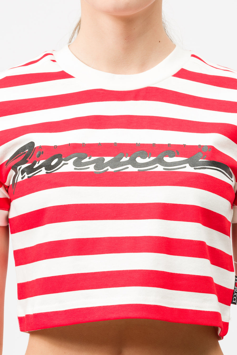 adidas Stripe Crop Tee in Off White/Red - Notre