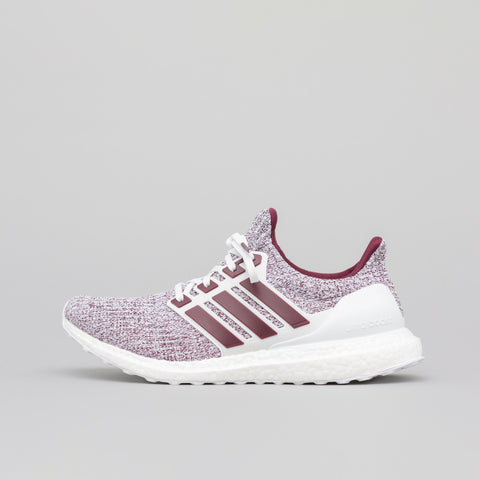 adidas Ultraboost in White/Maroon - Notre