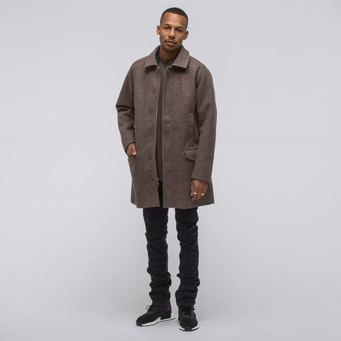 Adidas x Wings+Horns Bonded Wool Mac Coat in Camel - Notre