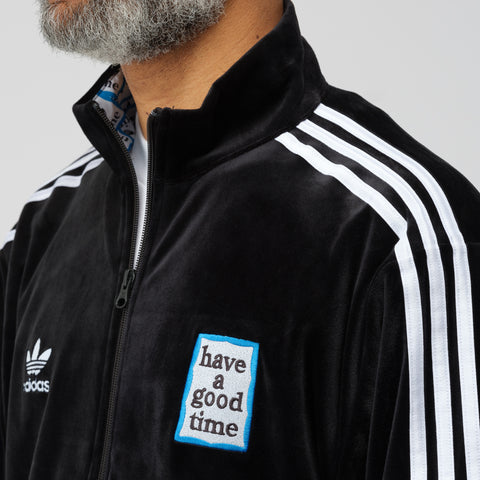 adidas x Have A Good Time Velour Track Top in Black - Notre