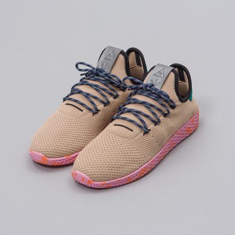 Adidas Pharrell Williams Tennis HU Shoes in Tan/Teal/Pink - Notre