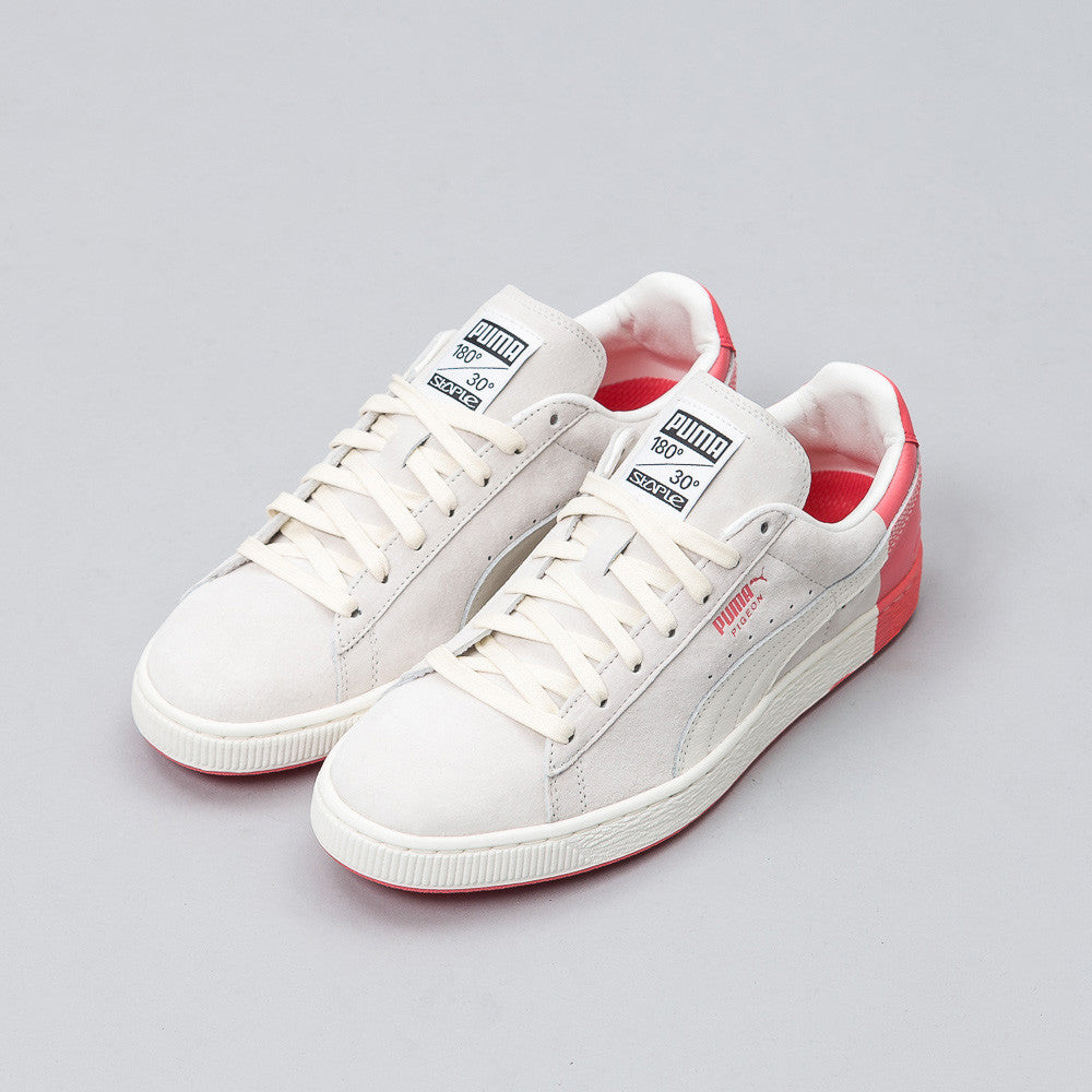 Puma x Staple Suede in Star White/Pigeon Pink Side View