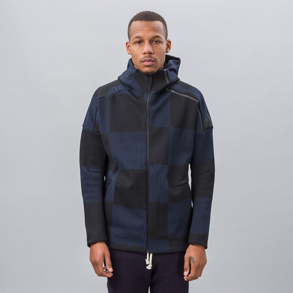 adidas Z.N.E. Checked Hoodie in Core Black/Collegiate Navy Notre 1