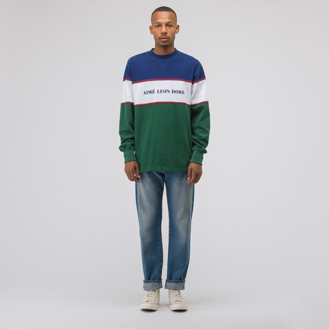 Aimé Leon Dore Color Blocked Logo Crew in Green/White/Navy/Burgundy - Notre