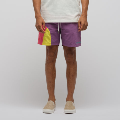 Aimé Leon Dore Color Blocked Swim Trunks in Purple Tape Combo - Notre