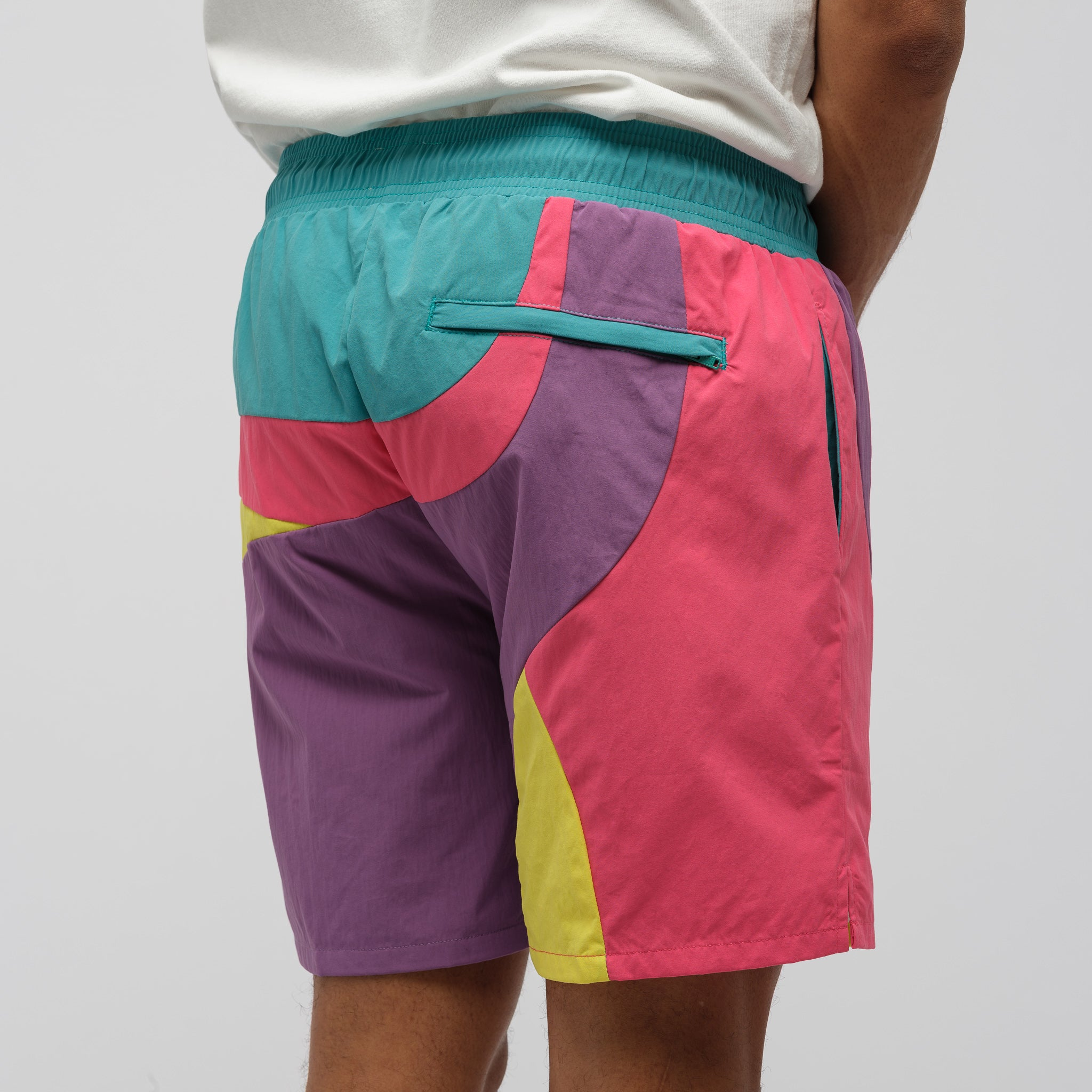 Color Blocked Swim Trunks in Purple Tape Combo
