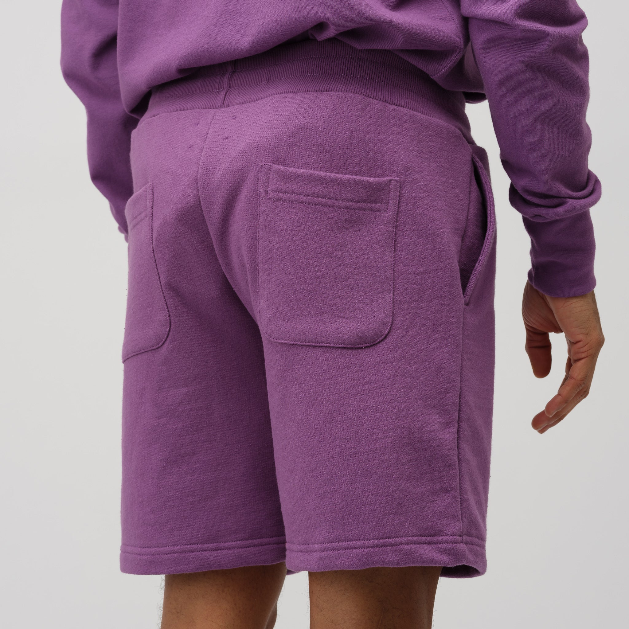 French Terry Shorts in Purple Tape