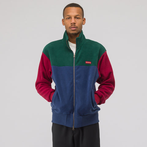 Aimé Leon Dore Polar Fleece Blocked Zip Up Jacket in Green/Navy/Burgundy - Notre