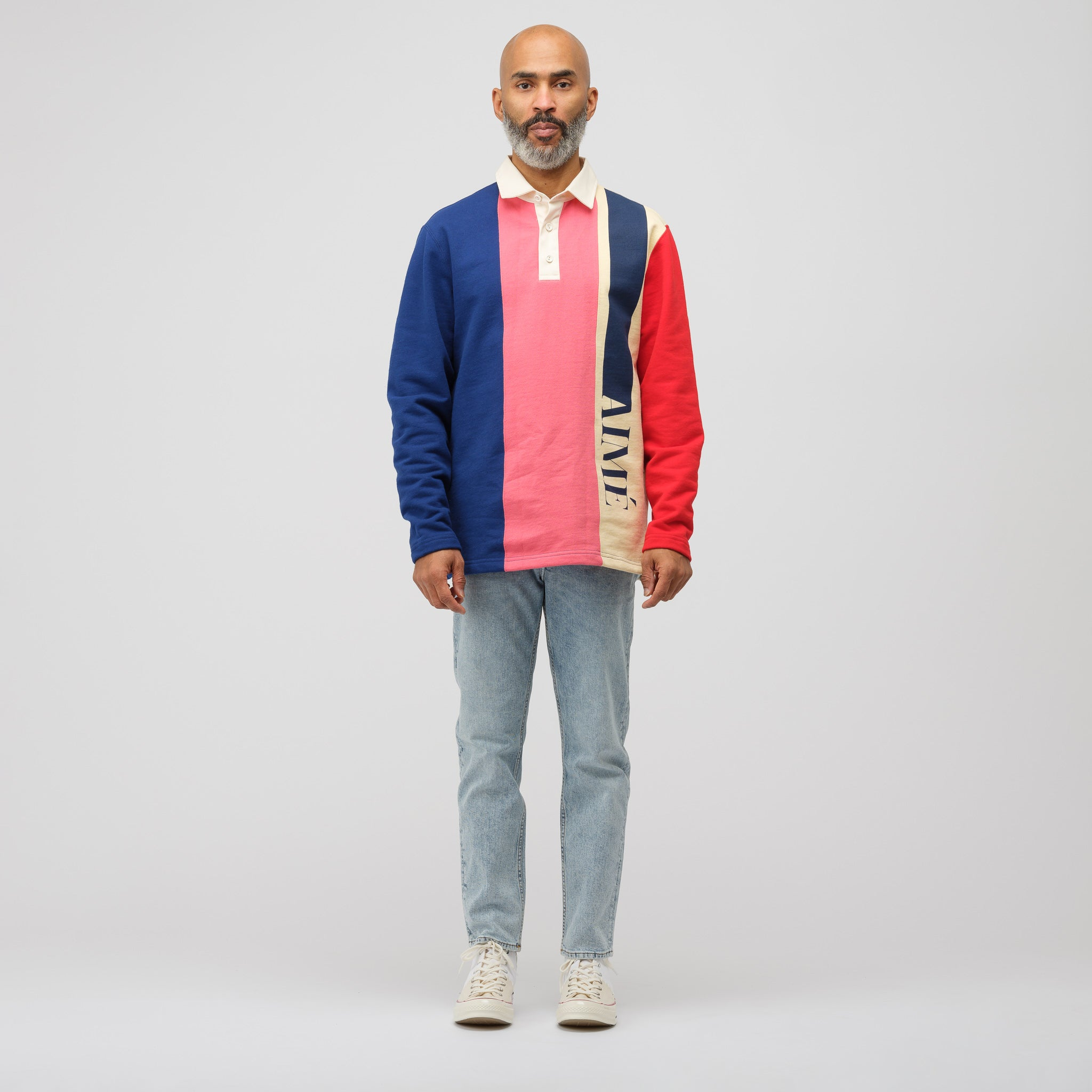 Heavyweight French Terry Rugby Shirt in Carmine Rose Combo