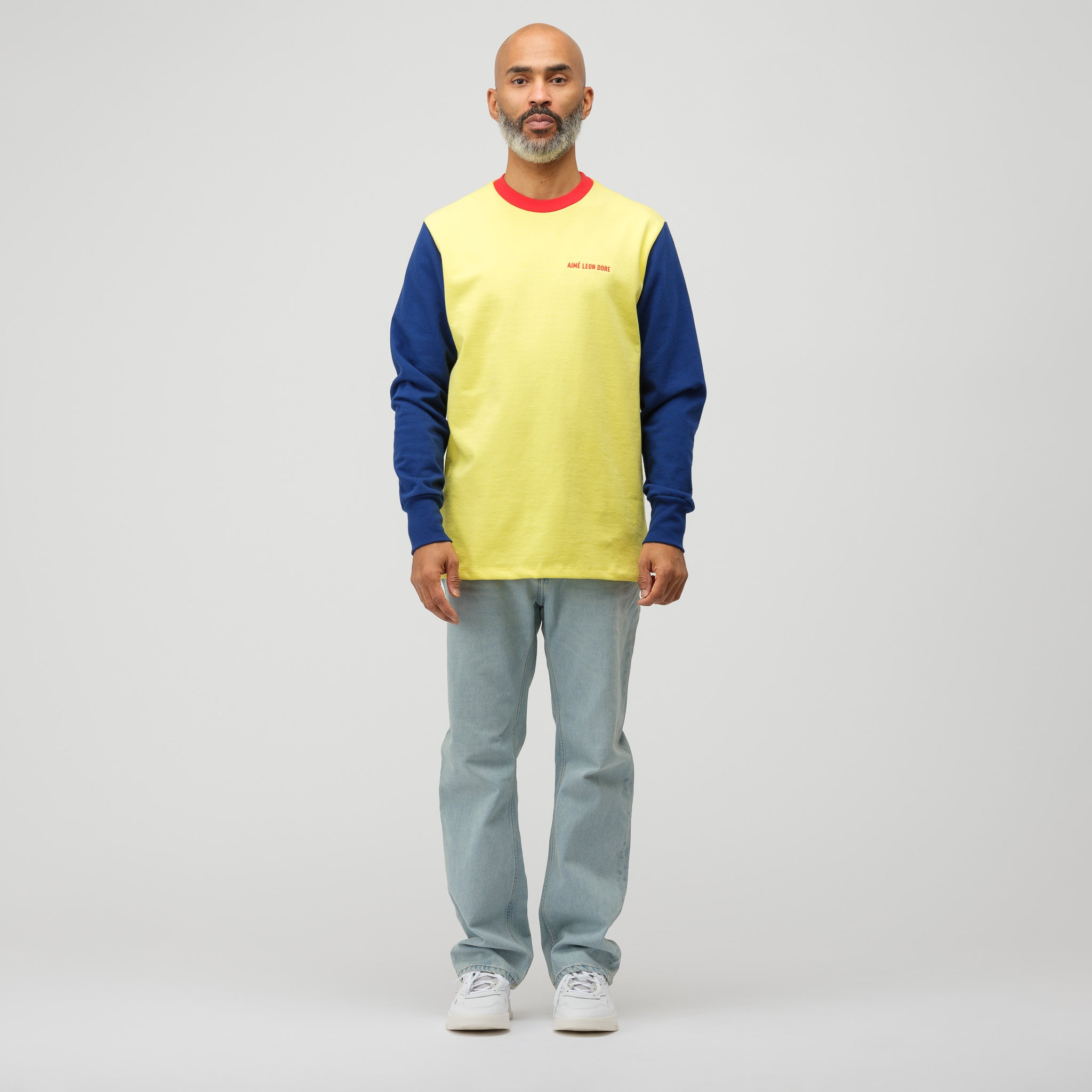 Long Sleeve Color Blocked Logo Tee in Highlighter Yellow