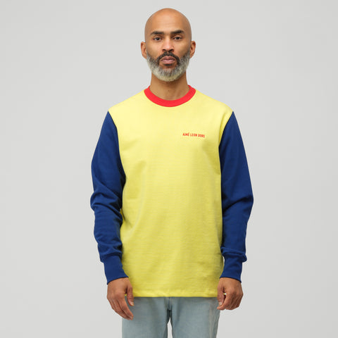 Aimé Leon Dore Long Sleeve Color Blocked Logo Tee in Highlighter Yellow - Notre