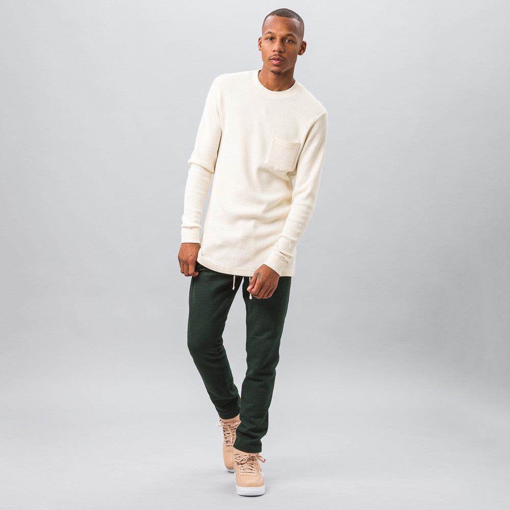Aime Leon Dore Long Sleeve Waffle Thermal in Cream Model Shot