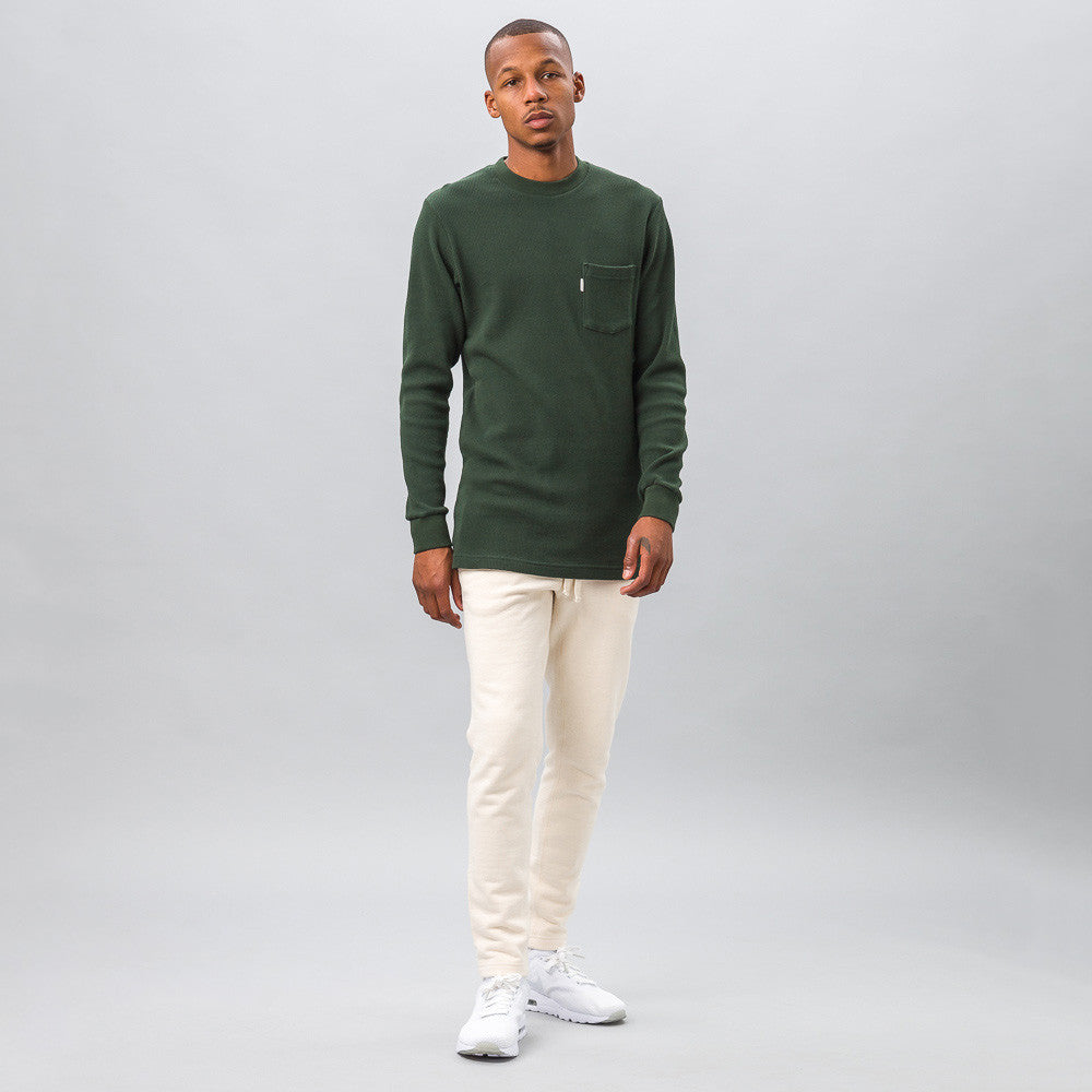Aime Leon Dore Long Sleeve Waffle Thermal in Green Model Shot