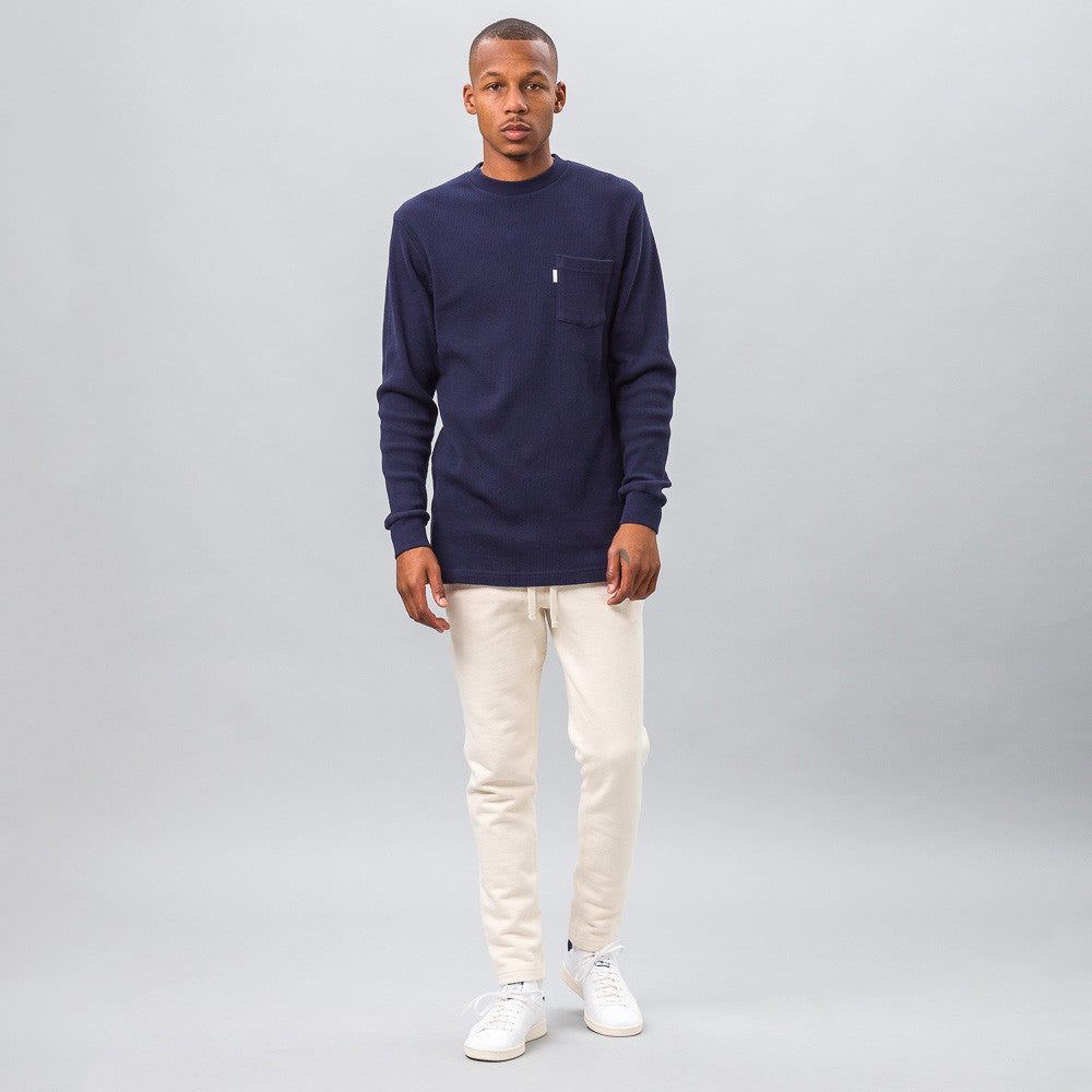 Aime Leon Dore Long Sleeve Waffle Thermal in Navy Model Shot