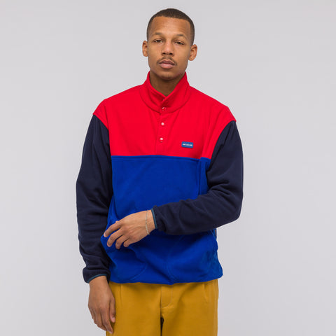 Aimé Leon Dore Polar Fleece Blocked Pullover in Navy/Red/Royal - Notre