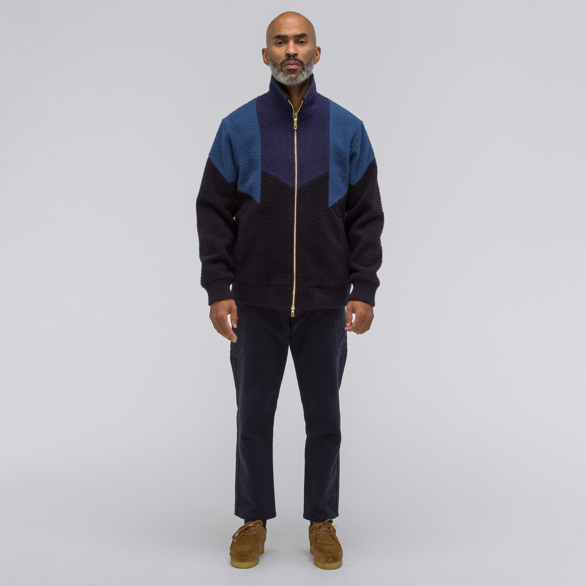 Wool Track Jacket in Blue