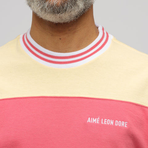 Aimé Leon Dore Striped Ribbed Collar T-Shirt in Cream/Beach Sand - Notre