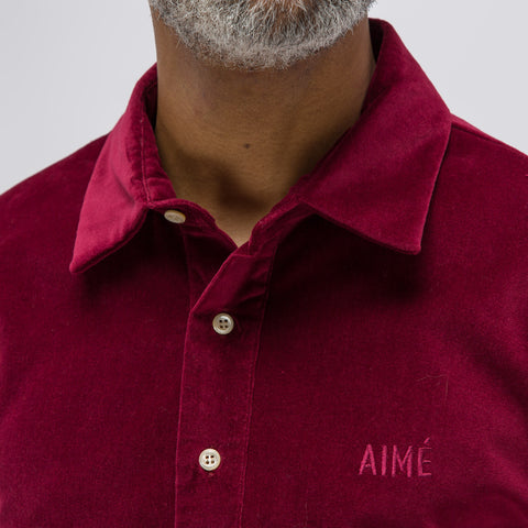 Aimé Leon Dore Velveteen Pull-over Shirt in Burgundy - Notre