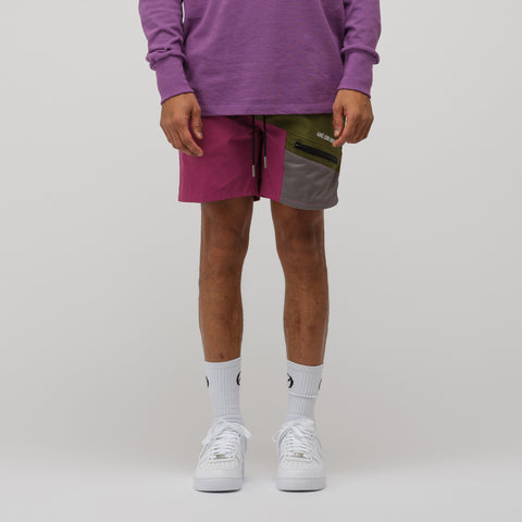 Aimé Leon Dore Zipper Pocket Shorts in Chive/Purple Tape - Notre