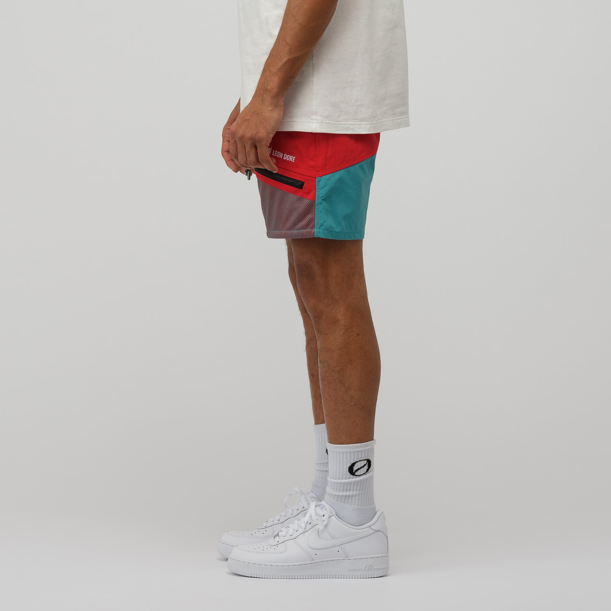 Zipper Pocket Shorts in Mineral Red/Tropical Green