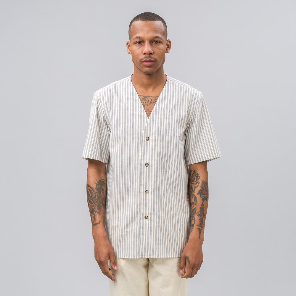 Aimé Leon Dore Pool Shirt in White/Blue Pinstripe - Notre