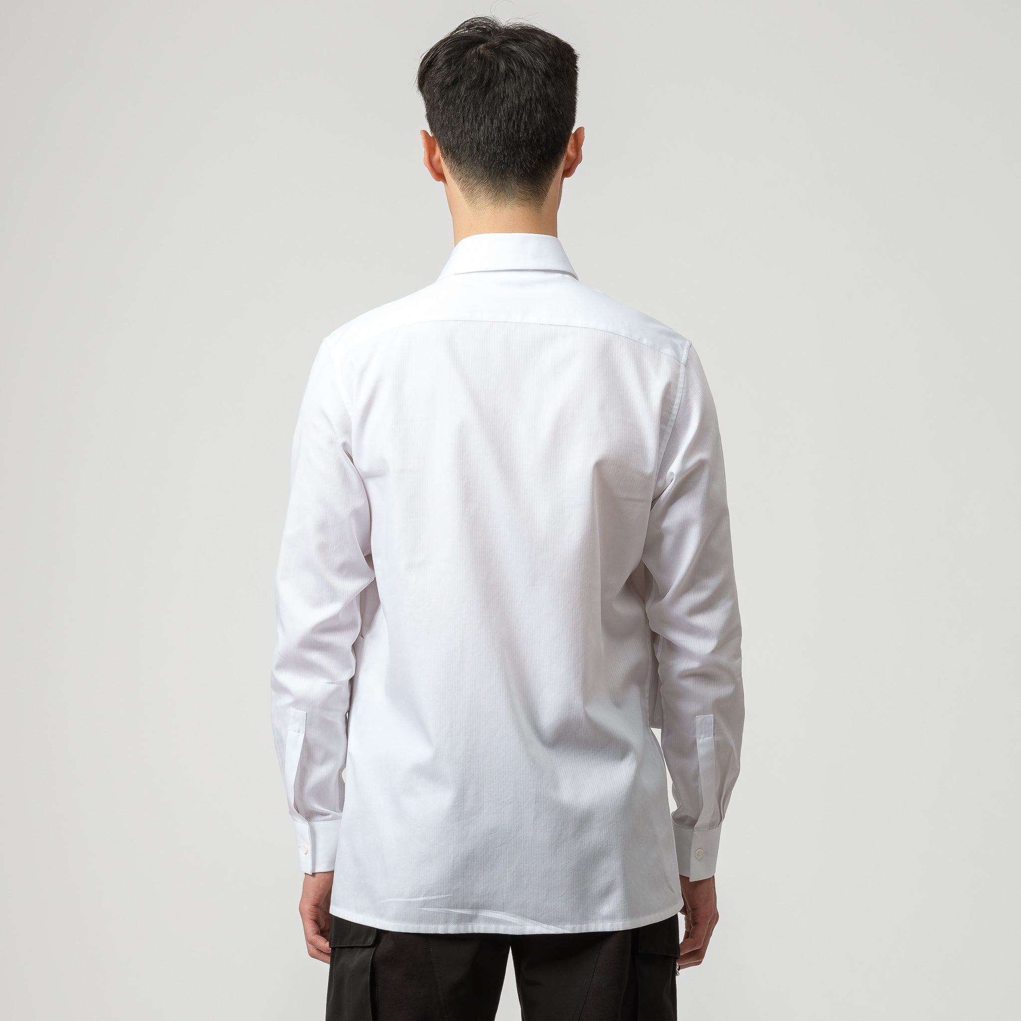 Cross Panel Button Up in White