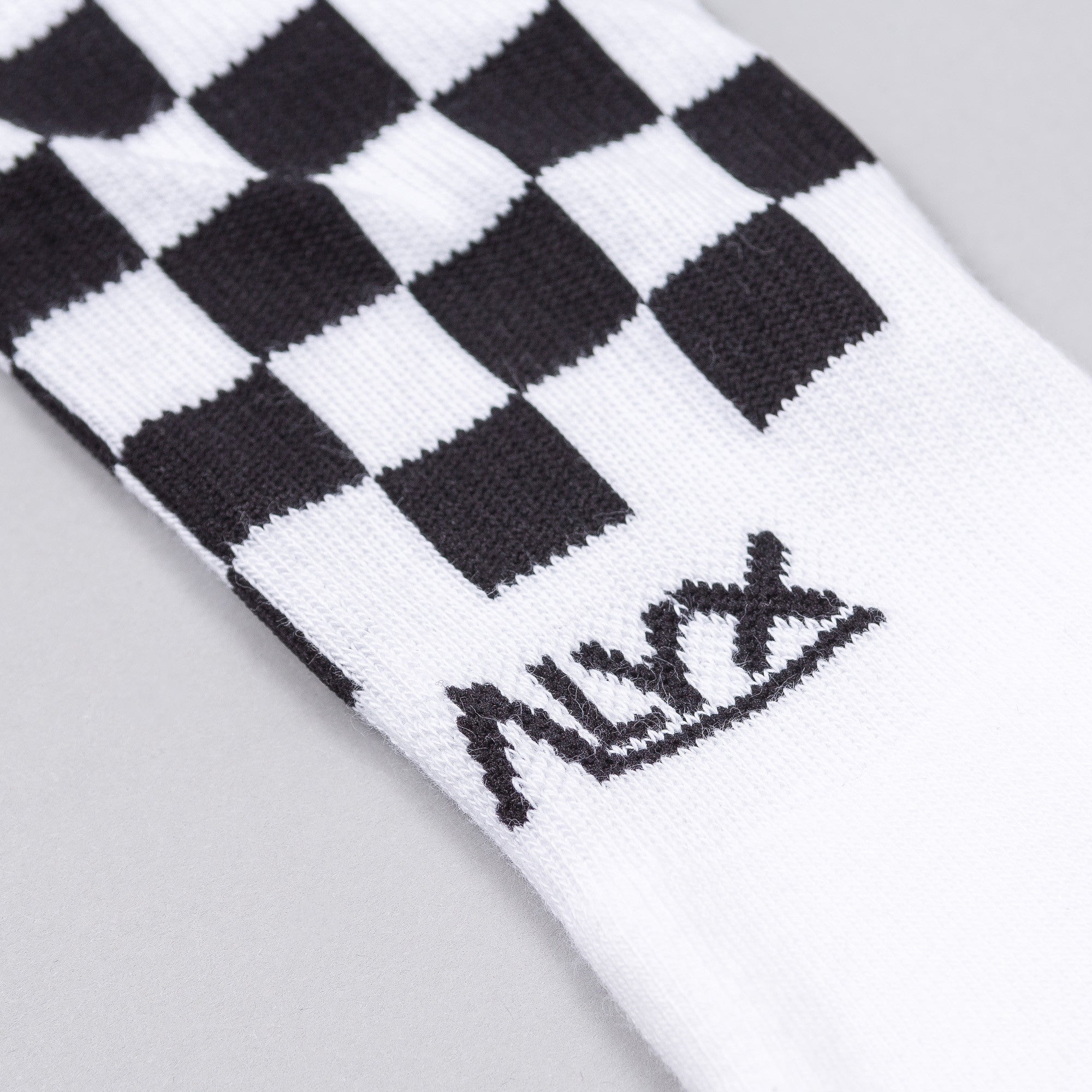 Checkered Sock in White