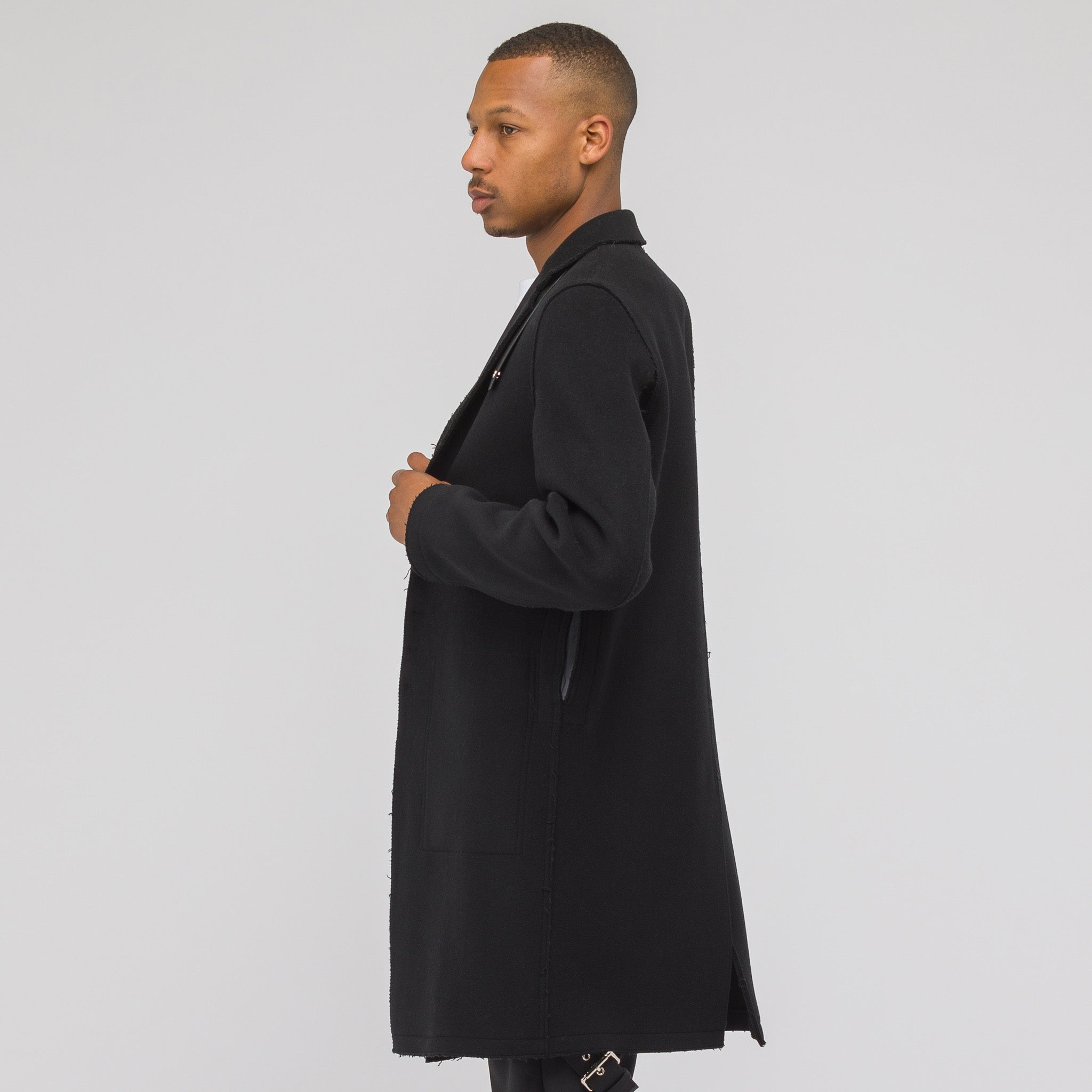 Lab Coat with Leather Tab in Black