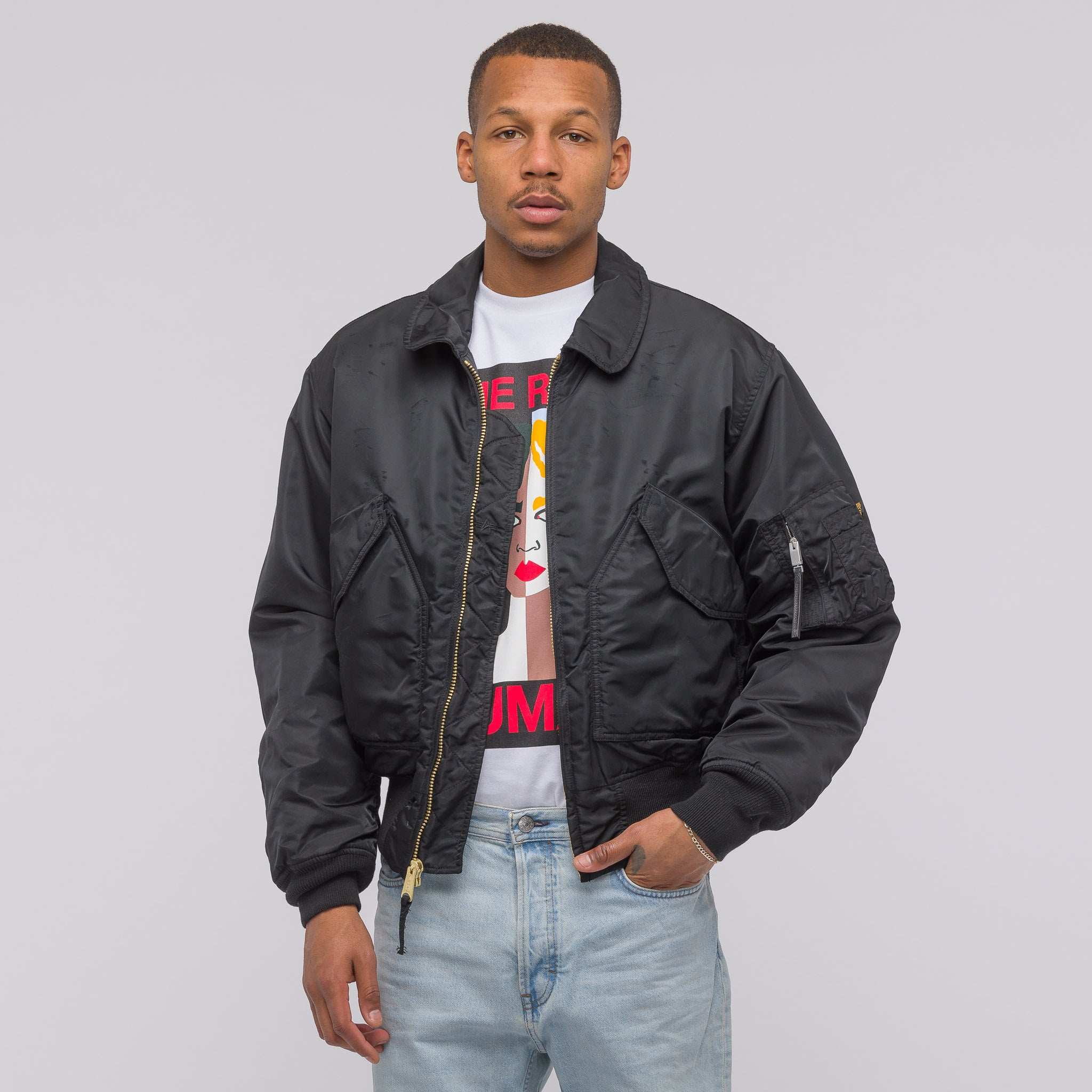 Naomi Avenue Pilot Bomber Jacket in Black