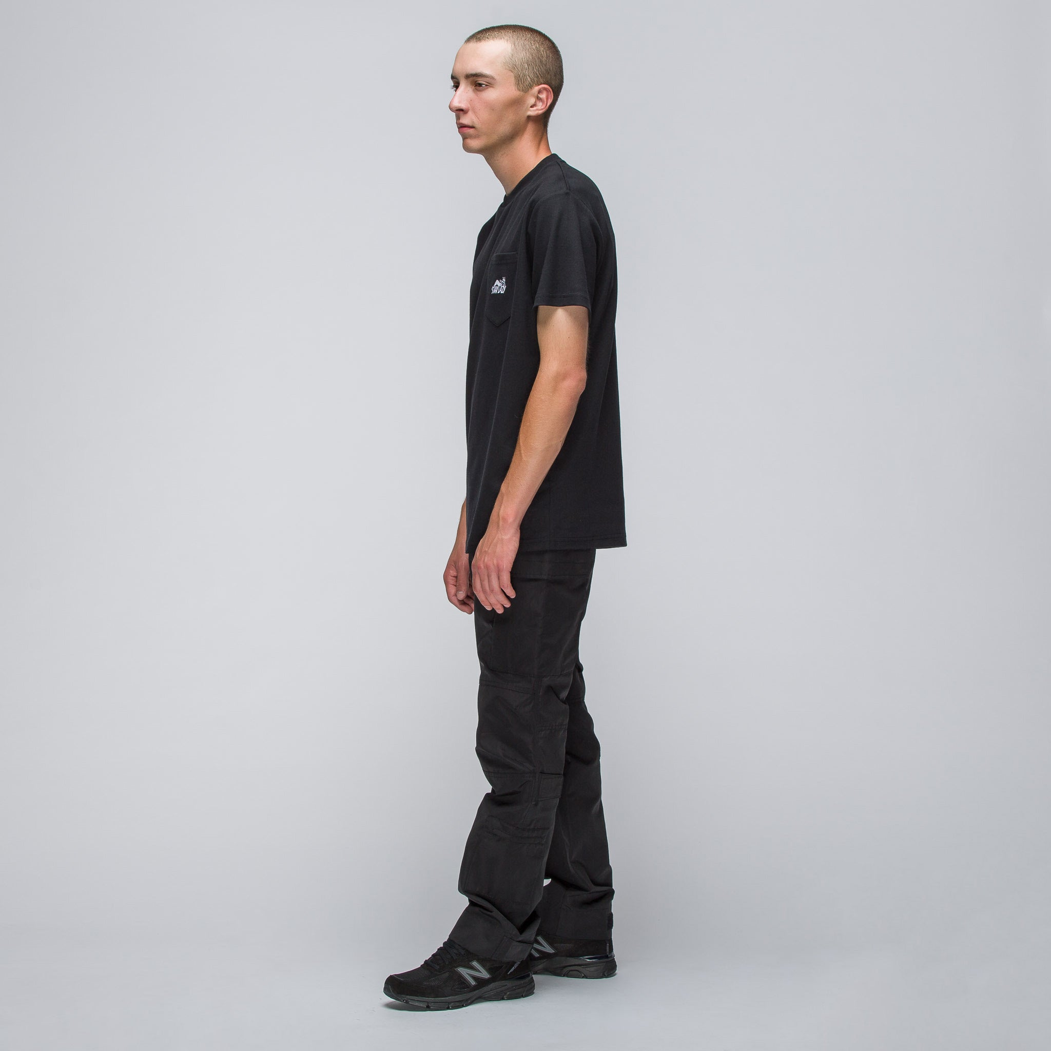Stay Lazy Short Sleeve Pocket T-Shirt in Black
