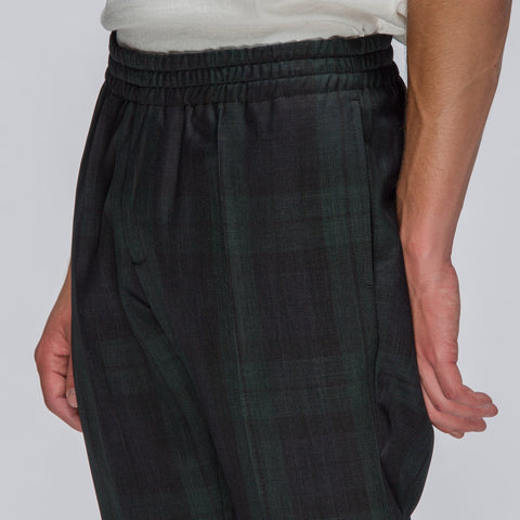 Alyx Studio Trouser with Elastic Waist in Green Plaid - Notre