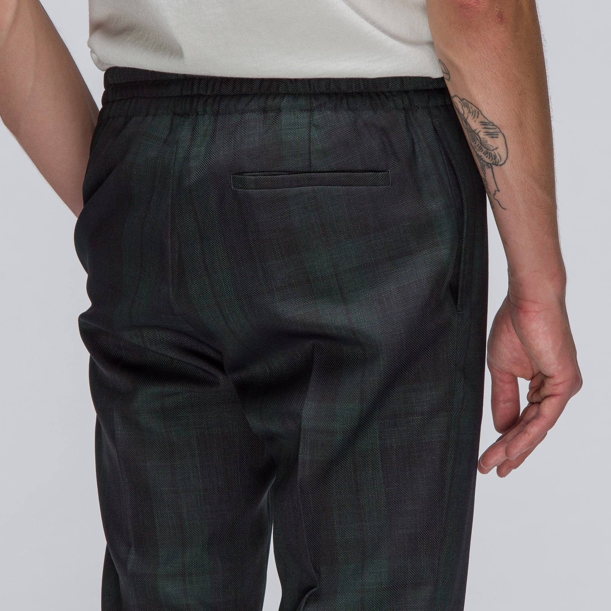 Trouser with Elastic Waist in Black Watch Plaid