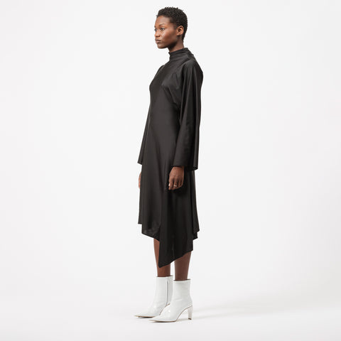 AMBUSH Patchwork Waves Drape Dress in Black - Notre