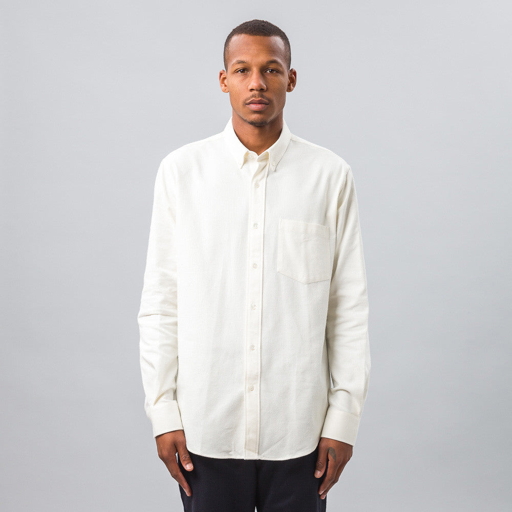 Ami Large Fit Button Down Shirt in Off-White Model View